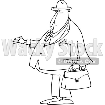 Clipart of a Cartoon Black and White Lineart Chubby Debt Collector or Businessman Holding His Hand out for Payment - Royalty Free Vector Illustration © djart #1381479