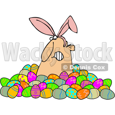 Clipart of a Grumpy White Man Wearing Bunny Ears and Popping out of a Pile of Decorated Easter Eggs - Royalty Free Vector Illustration © djart #1385550