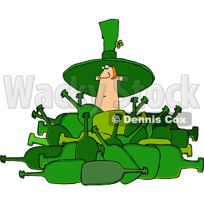 Clipart of a Cartoon St Patricks Day Leprechaun Deep in a Pile of Bottles - Royalty Free Vector Illustration © djart #1385551