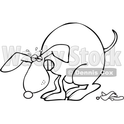 Clipart of a Cartoon Black and White Lineart Dog Straining and Pooping - Royalty Free Vector Illustration © djart #1388181