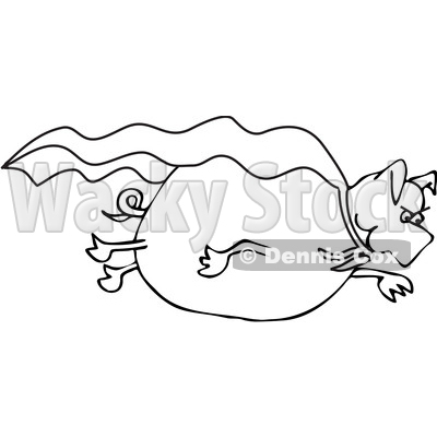 Clipart of a Cartoon Black and White Lineart Pig Super Hero Flying with a Cape - Royalty Free Vector Illustration © djart #1389337