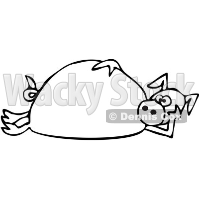 Clipart of a Cartoon Black and White Lineart Pig Laying on His Side - Royalty Free Vector Illustration © djart #1389338