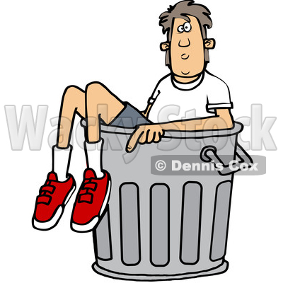 Clipart of a Cartoon White Boy in a Trash Can - Royalty Free Vector Illustration © djart #1389535