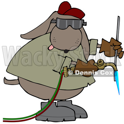 of a Cartoon Industrial Brown Dog Welder - Royalty Free Vector ...