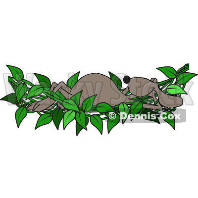 Clipart of a Cartoon Brown Dog Relaxing in a Leafy Vine Hammock - Royalty Free Vector Illustration © djart #1391382