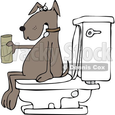 Clipart of a Cartoon Brown Dog out of Tp, Sitting on a Toilet - Royalty Free Vector Illustration © djart #1392211