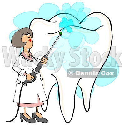 Clipart of a Cartoon Caucasian Female Dentist Power Washing a Tooth - Royalty Free Illustration © djart #1394151