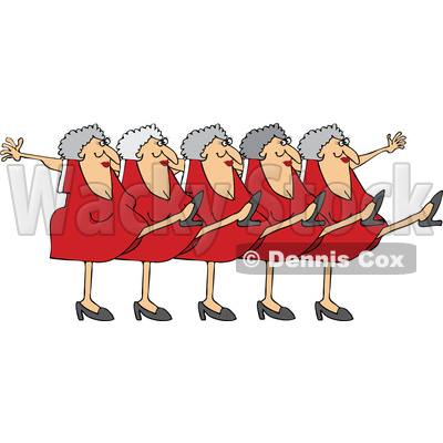 Clipart of a Cartoon Chorus Line of Senior Caucasian Ladies Dancing the Can Can - Royalty Free Vector Illustration © djart #1396161