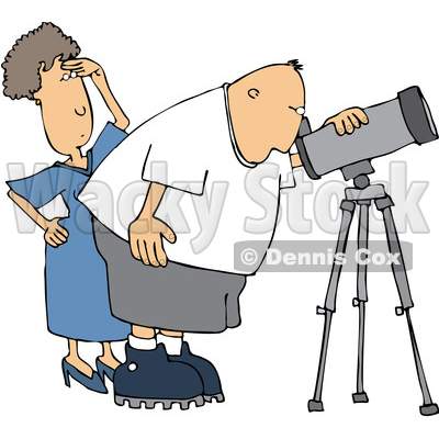 Clipart of a Cartoon Chubby White Male Astronomer and His Wife Looking Through a Telescope - Royalty Free Vector Illustration © djart #1396639