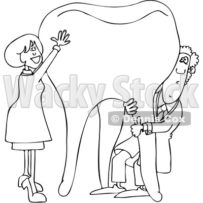 Clipart of a Cartoon Black and White Lineart Male and Female Dentist Holding up a Giant Tooth - Royalty Free Vector Illustration © djart #1396926