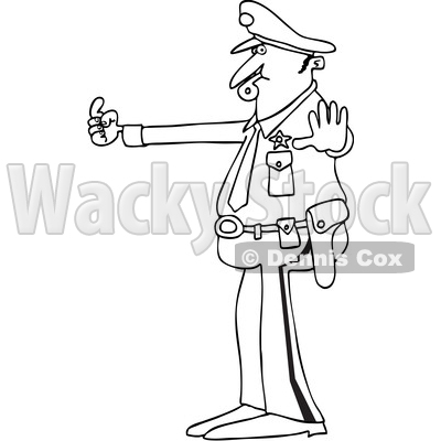 Clipart of a Cartoon Black and White Lineart Male Police Officer Blowing a Whistle and Directing Traffic - Royalty Free Vector Illustration © djart #1397417