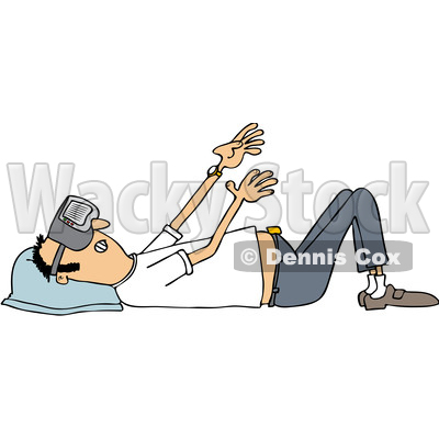 Clipart of a Cartoon White Man Laying on His Back and Wearing Virtual Reality Glasses - Royalty Free Vector Illustration © djart #1399914
