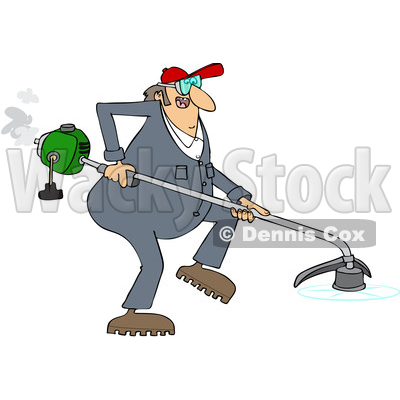 Cartoon Clipart of a Chubby White Male Landscaper or Gardener Using a Weed Wacker - Royalty Free Vector Illustration © djart #1400171