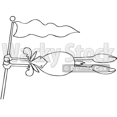Clipart Of A Cartoon Lineart Moose Holding Onto A Flag