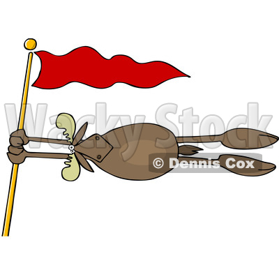 Clipart of a Moose Holding onto a Red Flag Post in a Wind Storm - Royalty Free Vector Illustration © djart #1400837