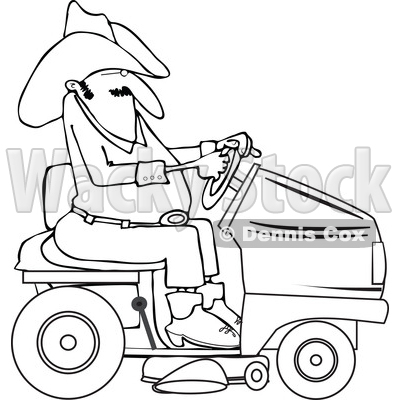 Clipart Of A Lineart Chubby Cowboy Riding A Red Lawn Mower