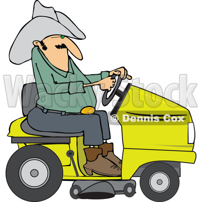 Clipart of a Chubby Cowboy Riding a Yellow Lawn Mower ...