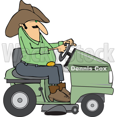 Clipart of a Chubby Cowboy Riding a Green Lawn Mower - Royalty Free Vector Illustration © djart #1401058