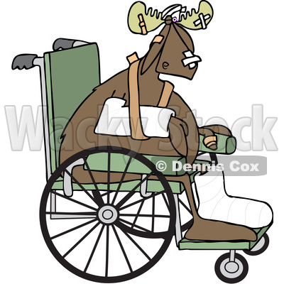 Clipart of an Injured Accident Prone Moose in a Wheelchair - Royalty Free Vector Illustration © djart #1402902