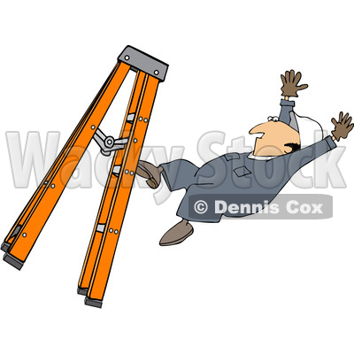 Clipart of a Cartoon Caucasian Male Worker Falling from a Ladder - Royalty Free Vector Illustration © djart #1403586