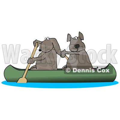 Two Dogs Paddling a Canoe and Looking Back Clipart Illustration © djart #14061