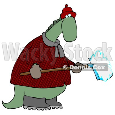 Green Dino in a Coat and Hat, Shoveling Snow in Winter Clipart Illustration © djart #14064