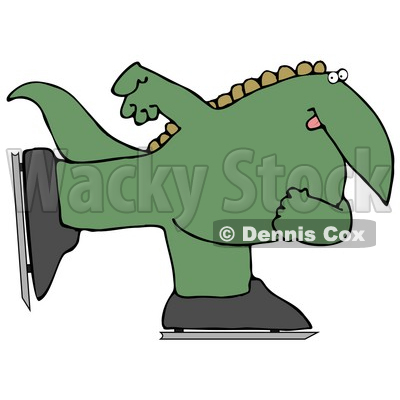 Green Dino Ice Skating Clipart Illustration © djart #14066