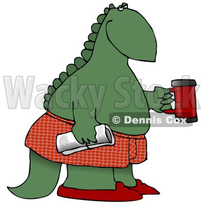 Green Dino in Boxers and Slippers, Holding a Coffee Mug and Newspaper Clipart Illustration © djart #14068