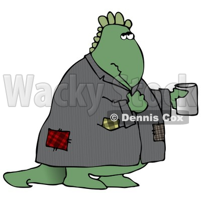 Homeless Green Dinosaur Wearing a Patched Jacket and Holding a Cup Out for Spare Change Clipart Illustration © djart #14072