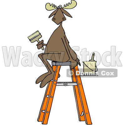 Clipart of a Cartoon Painter Moose Sitting on a Ladder and Holding a Brush - Royalty Free Vector Illustration © djart #1407271