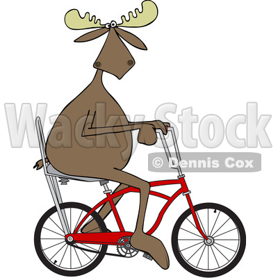 Clipart of a Cartoon Moose Riding a Red Stingray Bicycle - Royalty Free Vector Illustration © djart #1407986