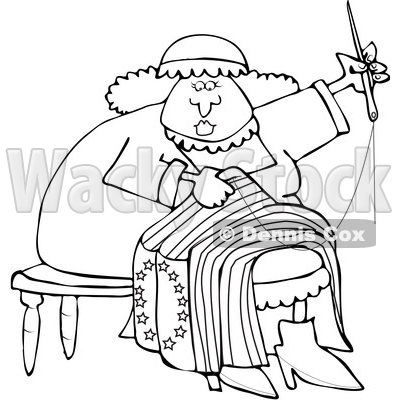 Clipart of a Cartoon Black and White Lineart Woman, Betsy Ross, Sewing a Flag - Royalty Free Vector Illustration © djart #1409541