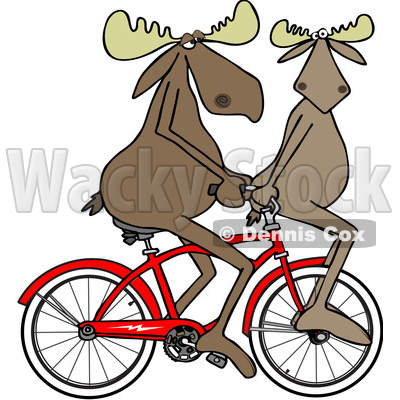 Cartoon Clipart of a Moose Couple Riding a Bicycle, One on the Handlebars - Royalty Free Vector Illustration © djart #1409757