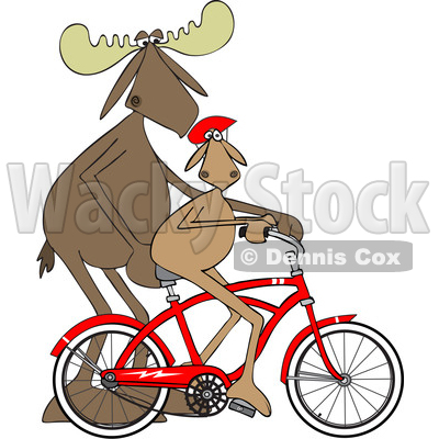 Cartoon Clipart of a Moose Father Teaching His Son How to Ride Bicycle - Royalty Free Vector Illustration © djart #1409758
