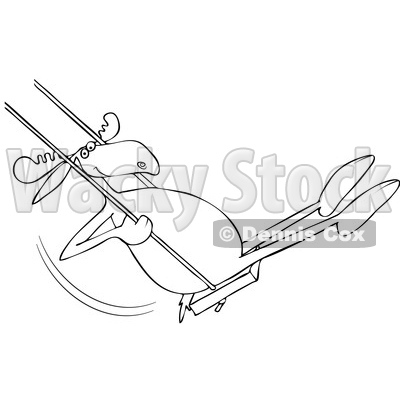 Cartoon Clipart of a Black and White Lineart Moose Playing on a Swing - Royalty Free Vector Illustration © djart #1409761