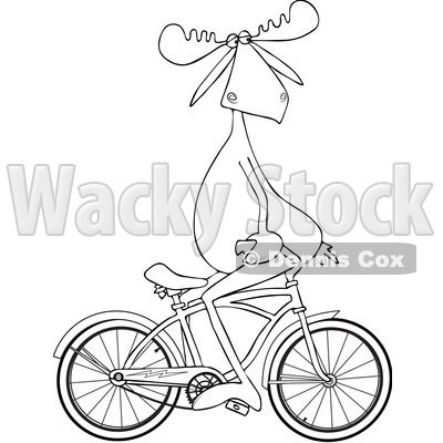 Cartoon Clipart of a Black and White Lineart Moose Sitting