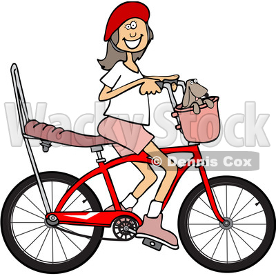 Cartoon Clipart of a Happy Brunette Caucasian Girl Riding a Stingray Bicycle - Royalty Free Vector Illustration © djart #1409765
