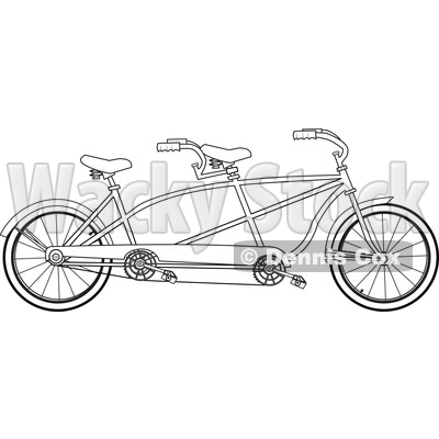 Cartoon Clipart of a Black and White Lineart Tandem Bicycle - Royalty Free Vector Illustration © djart #1409767