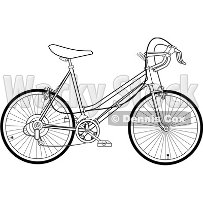 Clipart of a Black and White 10 Speed Bicycle - Royalty Free Vector Illustration © djart #1409934