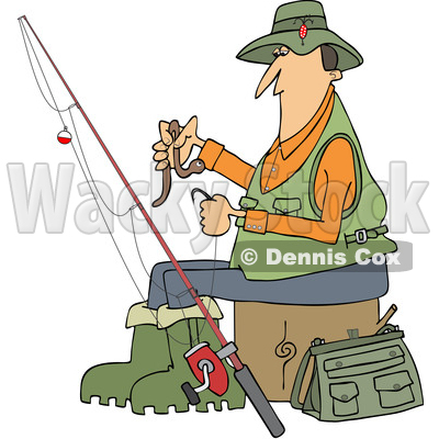 Clipart of a Cartoon Caucasian Fisherman Putting a Worm on a Hook - Royalty Free Vector Illustration © djart #1411218