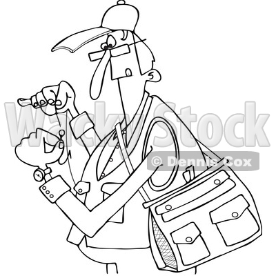Clipart of a Black and White Lineart Cartoon Fisherman Threading a Hook - Royalty Free Vector Illustration © djart #1411221