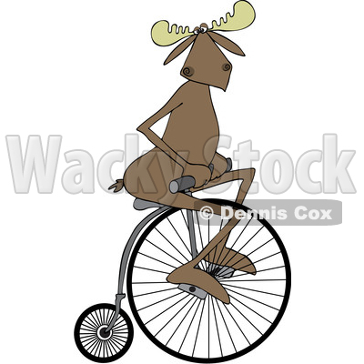 Clipart of a Cartoon Moose Riding a Penny Farthing Bicycle - Royalty Free Vector Illustration © djart #1413984