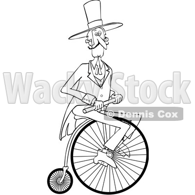 Clipart of a Cartoon Black and White Gentleman Riding a Penny Farthing Bicycle - Royalty Free Vector Illustration © djart #1413993