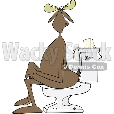 Clipart of a Cartoon Moose Sitting Cross Legged on a Toilet - Royalty Free Vector Illustration © djart #1417669