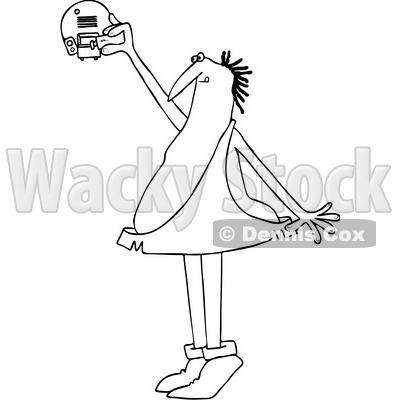 Clipart of a Cartoon Black and White Lineart Caveman Standing on His Tip Toes and Putting a Battery in a Smoke Detector - Royalty Free Vector Illustration © djart #1418870