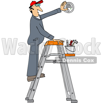 Clipart of a Cartoon Caucasian Maintenance Worker Man on a Ladder, Installing a Smoke Detector - Royalty Free Vector Illustration © djart #1418875