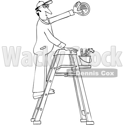 Clipart Of A Cartoon Black And White Lineart Maintenance Worker Man On Ladder Installing Outlined Electrician