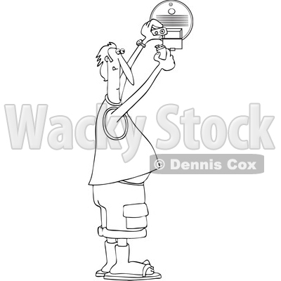 Clipart of a Cartoon Black and White Lineart Chubby Man Putting a New Battery in a Smoke Detector - Royalty Free Vector Illustration © djart #1418880