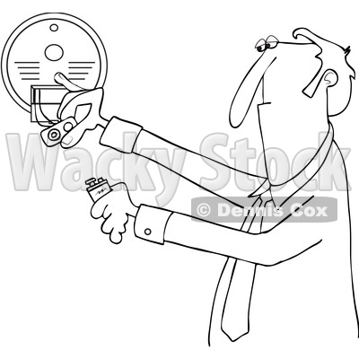 Clipart of a Cartoon Black and White Lineart Business Man Installing a New Battery in a Smoke Detector - Royalty Free Vector Illustration © djart #1418881