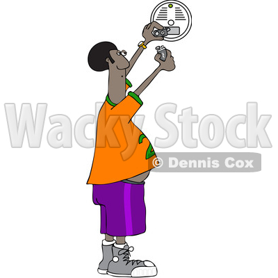 Clipart of a Cartoon Chubby African Man Putting a New Battery in a Smoke Detector - Royalty Free Vector Illustration © djart #1419196